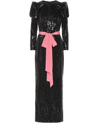 Monique Lhuillier Robe longue à sequins - Noir