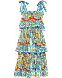 Dolce & Gabbana Tiered Printed Stretch Cotton Dress - Blue