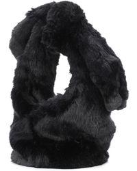 Simone Rocha Bucket-Bag aus Faux Fur - Schwarz