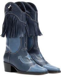 Ganni Texas Fringes Leather Cowboy Boots - Blue