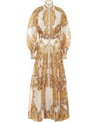 Zimmermann Zippy Paisley Linen And Silk Dress - Multicolour