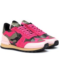 Valentino - Sneaker Leather Army Green/disco Pink - Lyst