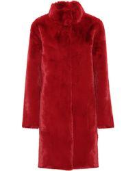Velvet Mina Faux Fur Reversible Coat - Red