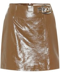 ALEXACHUNG Leather Miniskirt - Brown