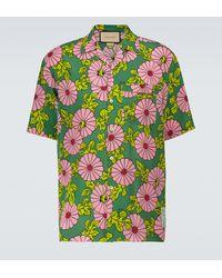 Gucci Ken Scott x Kurzarmhemd aus Seide - Grün