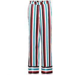 Asceno Striped Silk Pyjama Pants - Blue