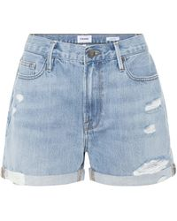 FRAME Le Beau Distressed Denim Shorts - Blue