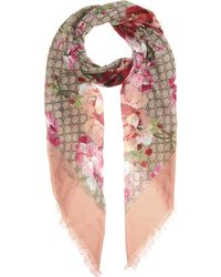 Gucci Printed Silk-blend Scarf - Pink