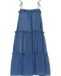 Lisa Marie Fernandez Minikleid aus einem Leinengemisch - Blau