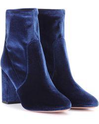 Aquazzura - Velvet Ankle Boots - Lyst