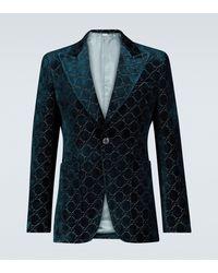 Gucci Jacke aus GG Samt - Blau