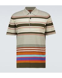 Missoni Striped Knitted Cotton Polo Shirt - Multicolour