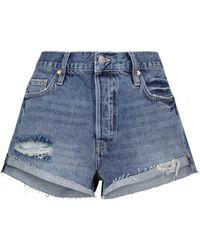 FRAME High-Rise Jeansshorts Front Cuff - Blau