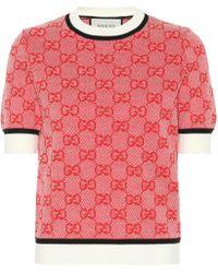 Gucci Pullover aus Wolle und Baumwolle - Rot