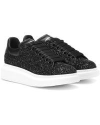 Alexander McQueen Oversized Black Glitter Sneakers