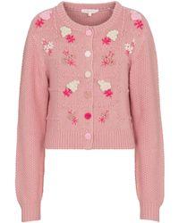 LoveShackFancy Cardigan Briallon brodé en coton et laine mélangés - Rose