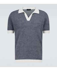 Thom Sweeney Poloshirt aus Baumwolle und Leinen - Blau