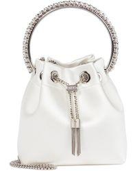 Jimmy Choo Bucket-Bag Bon Bon aus Satin - Weiß