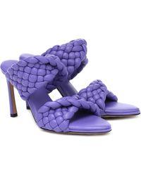 Bottega Veneta The Curve 95 Lambskin Mules With Twisted Intrecciato Straps - Purple