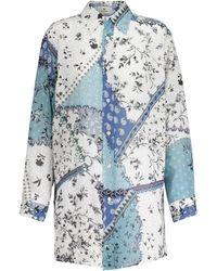 Etro Chemise en ramie à fleurs - Bleu