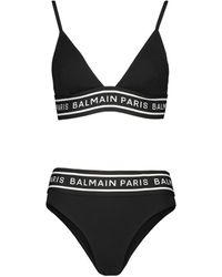 Balmain Bikini con logo - Negro