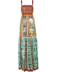 Dolce & Gabbana Printed Silk Chiffon Maxi Dress - Multicolour