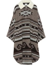Étoile Isabel Marant - Geometric Knit Long Poncho Coat - Lyst