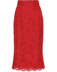 Dolce & Gabbana Floral-lace Skirt - Red