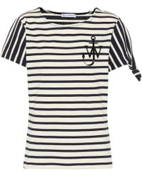 JW Anderson Bedrucktes T-shirt Aus Gestreiftem Baumwoll-jersey - Blau