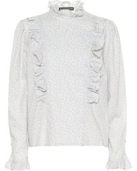 ALEXACHUNG Ruffle-trimmed Floral Cotton Blouse - White