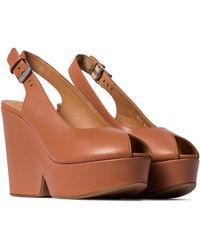 Clergerie Dylan Leather Platform Sandals - Brown