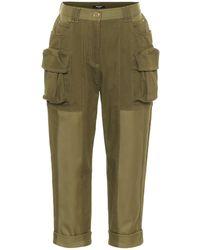 Balmain Stretch-cotton Cropped Pants - Green