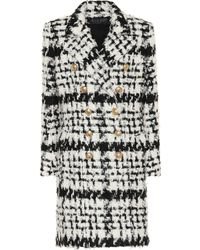 Balmain - Wool-blend Plaid Coat - Lyst