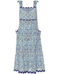 Juliet Dunn Floral Cotton Midi Dress - Blue