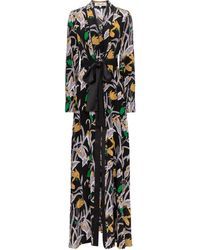 Diane von Furstenberg Abito lungo Bonnie a stampa floreale in seta - Nero