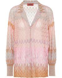 Missoni Gemusterte Bluse aus Strick - Pink