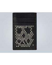 Alexander McQueen Studded Skull Leather Card Holder - Black