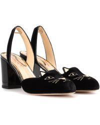 Charlotte Olympia - Kitty Velvet Slingback Court Shoes - Lyst