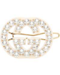 Gucci GG Crystal-embellished Barrette - White