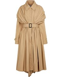 Loewe Pleated Cotton Toile Trench Coat - Natural