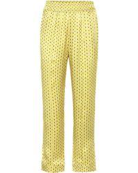 Asceno Pyjama-Hose aus Seidensatin - Gelb