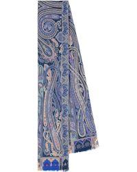 Etro Pañuelo de lana y seda print paisley - Azul