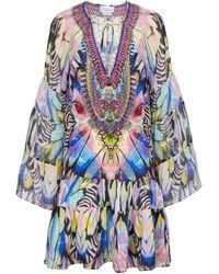 Camilla Exclusive To Mytheresa – Embellished Silk Minidress - Blue