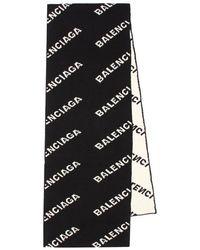 Balenciaga Sciarpa Allover Logo - Nero
