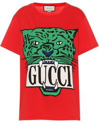 2cf7262fc531 Gucci Distressed And Embroidered Logo T-shirt in White - Lyst