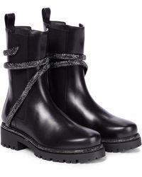 Rene Caovilla Cleo Embellished Leather Chelsea Boots - Black