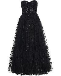 Dolce & Gabbana Abito lungo in tulle floccato - Nero