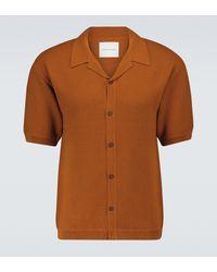 King & Tuckfield Merino Knitted Short-sleeved Shirt - Brown