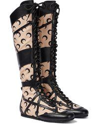 Jimmy Choo Exclusivo to Mytheresa – x Marine Serre botas altas de lona y piel - Negro