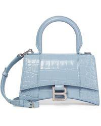 Balenciaga Hourglass Xs Leather Tote - Blue